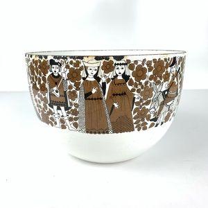Vintage Medieval Knights Scene Enameled Bowl